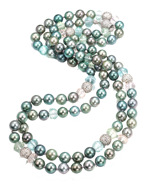 "Tahitian Pearl, Aquamarine, Beryl & Morganite Necklace - 45""-1"