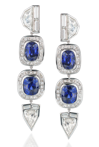 Fancy-Cut Diamond & Blue Sapphire Earrings