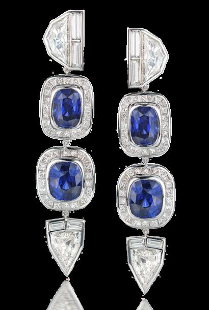 Fancy-Cut Diamond & Blue Sapphire Earrings