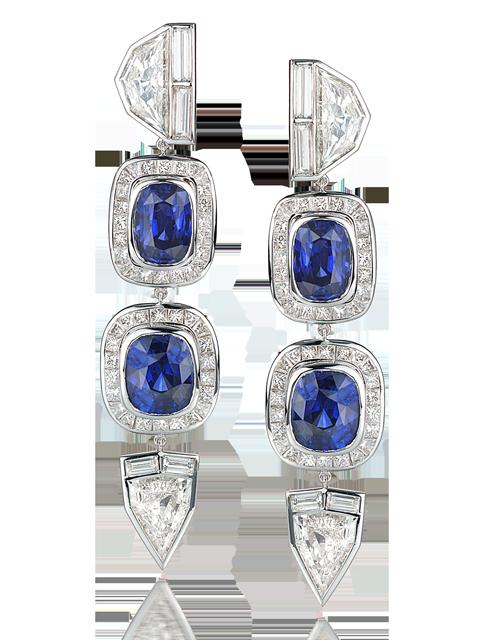 Fancy-Cut Diamond & Blue Sapphire Earrings-1