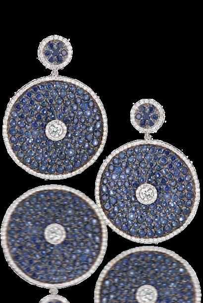 Sapphire Pave Discs with Diamonds