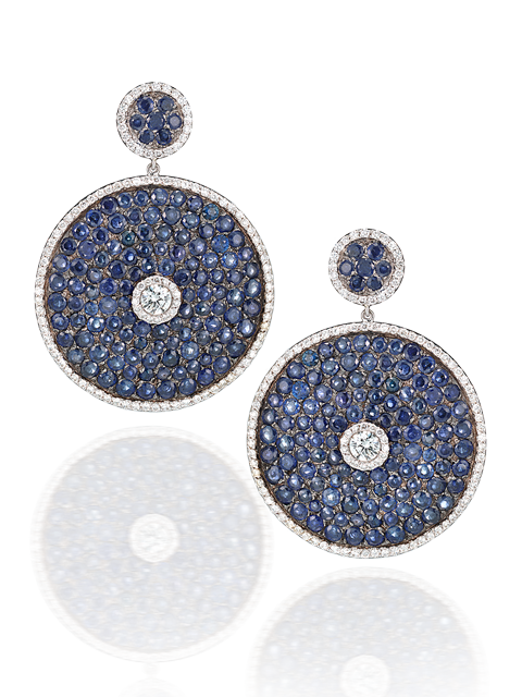 Sapphire Pave Discs with Diamonds-1