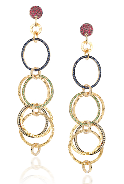 Gold & Multi-Colored Stones Multi-Hoop Link Earrings