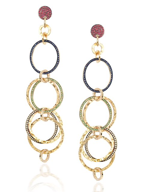 Gold & Multi-Colored Stones Multi-Hoop Link Earrings-1