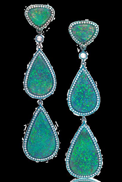Black Opal Triple Drop Earrings