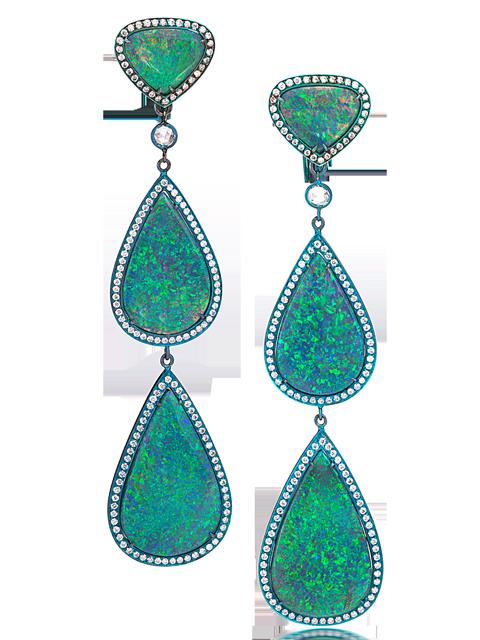 Black Opal Triple Drop Earrings-1