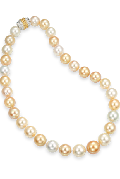 Multi-Color Golden South Sea Pearl Necklace