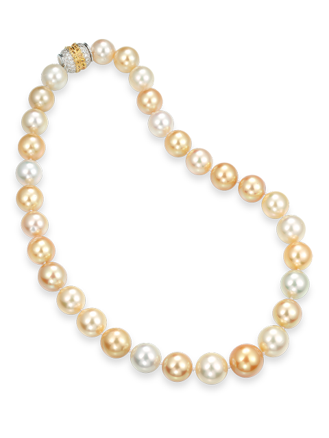 Multi-Color Golden South Sea Pearl Necklace-1