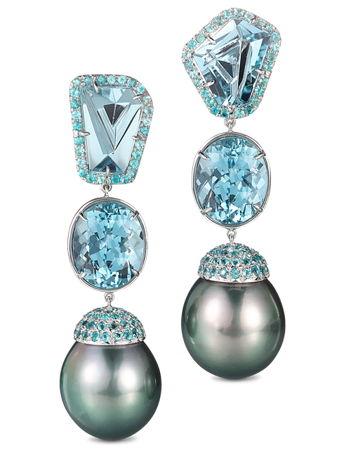 Black Tahitian Pearl & Aquamarine Earrings-1