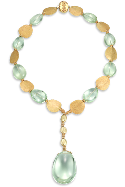 Pale Green Aquamarine & Gold Pendant  Necklace