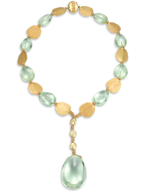 Pale Green Aquamarine & Gold Pendant  Necklace-1