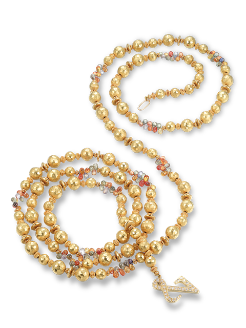 "22k Gold & Sapphire  Necklace - 60""-1"