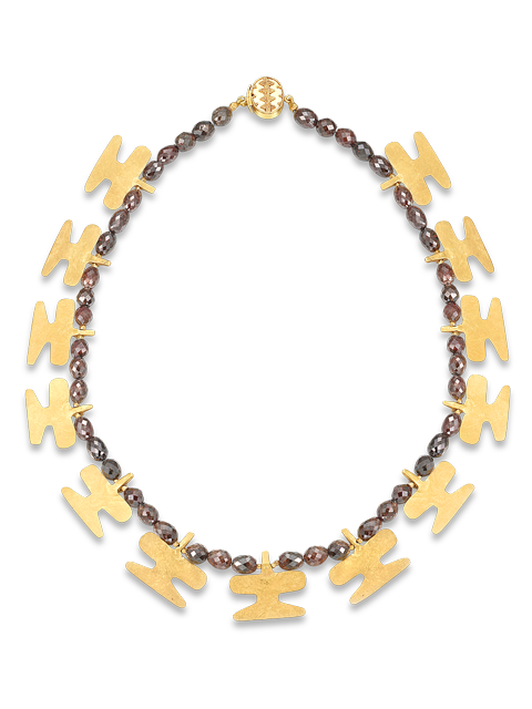 Brown Diamond and Pre-Columbian Gold Stylized Bird Necklace-1