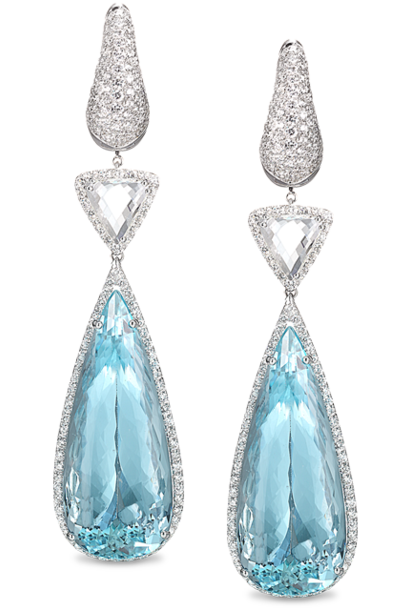 Diamond & Aquamarine Drop Earrings