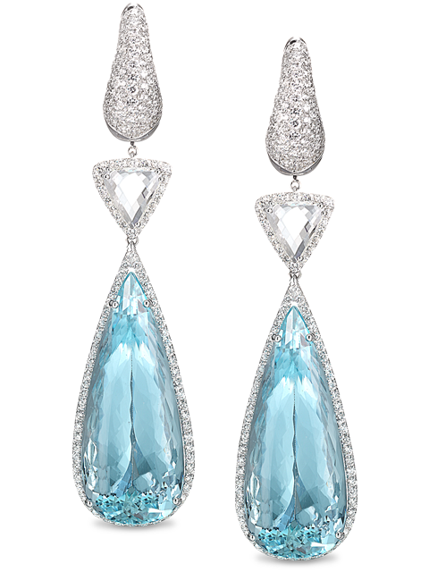 Diamond & Aquamarine Drop Earrings-1