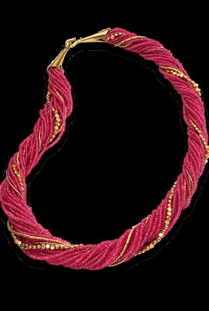 "16 Strand Ruby &  Gold Necklace - 26"""