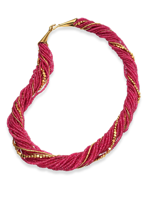 "16 Strand Ruby &  Gold Necklace - 26""-1"