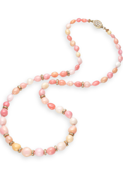Conch Pearl, Gold and Diamond Necklace