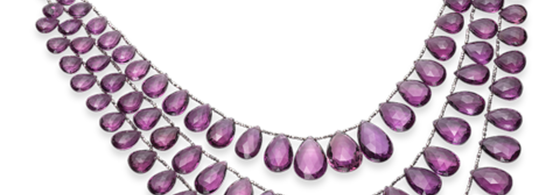 Amethyst Briolette Necklace, 3 Strands Nested