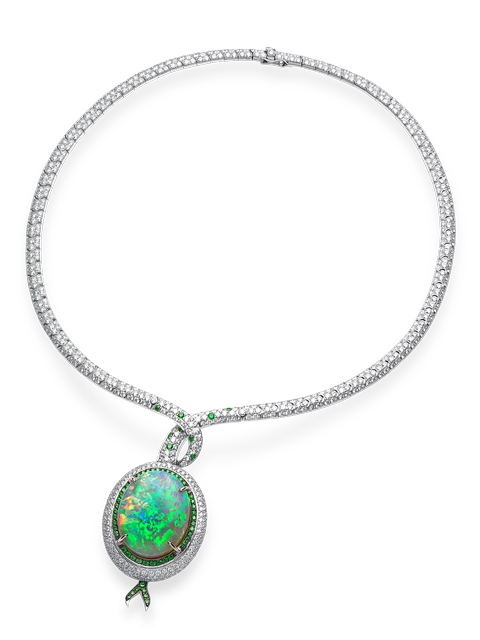 Black Opal & Diamond Necklace-1