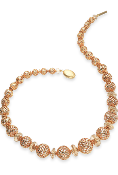 Openwork Gold Beads & Citrine Necklace - 22""