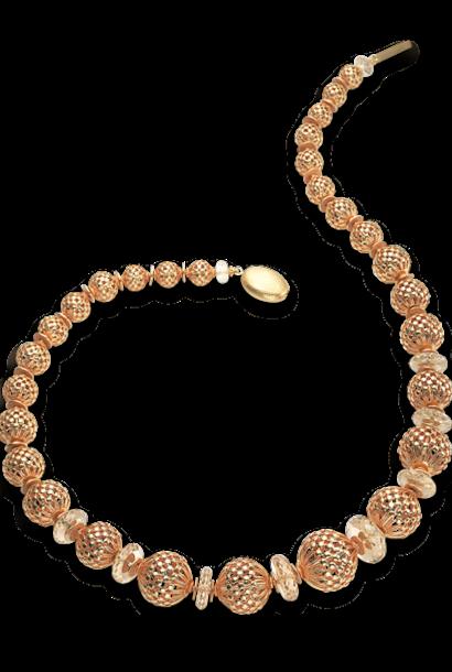 "Openwork Gold Beads & Citrine Necklace - 22"""
