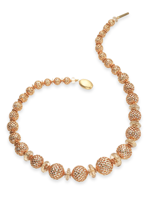 "Openwork Gold Beads & Citrine Necklace - 22""-1"