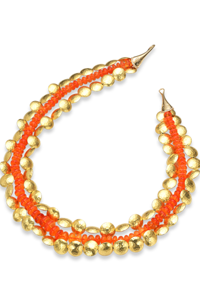 """Gold & Fire Opal Necklace - 17"""""""