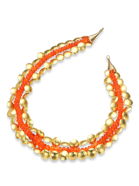 """Gold & Fire Opal Necklace - 17""""-1"""