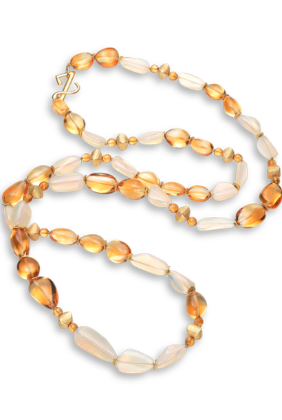 Citrine & Jelly Opal Necklace - 45""