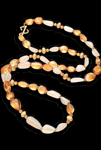 """Citrine & Jelly Opal Necklace - 45"""""""