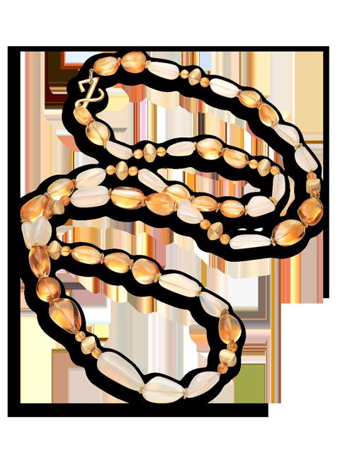 """Citrine & Jelly Opal Necklace - 45""""-1"""