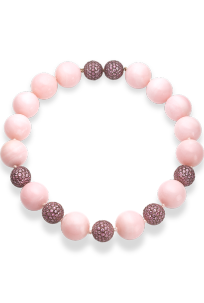 """Pink Opal & Pink Sapphire Necklace - 16"""""""
