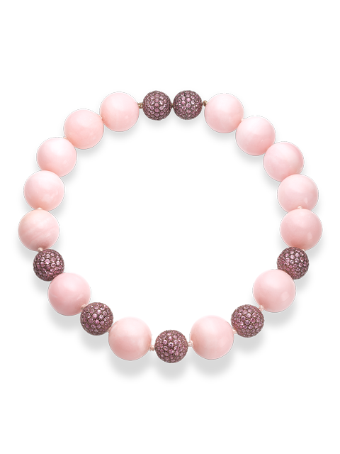 "Pink Opal & Pink Sapphire Necklace - 16""-1"