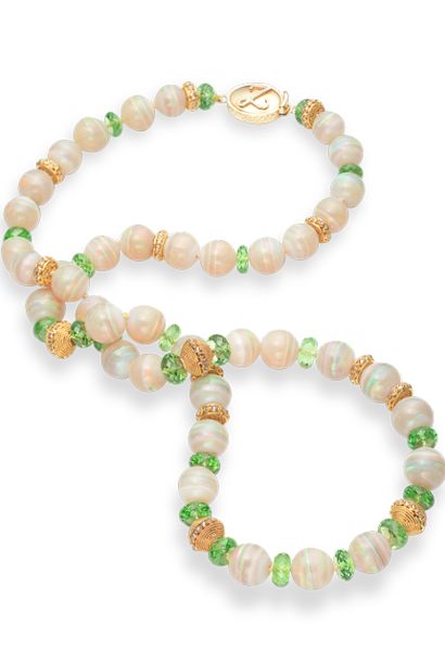 Mintabie Opal & Peridot Necklace - 26""