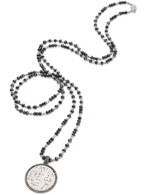 "Black Diamond, Meteorite & 18k White Gold Necklace - 46""-1"