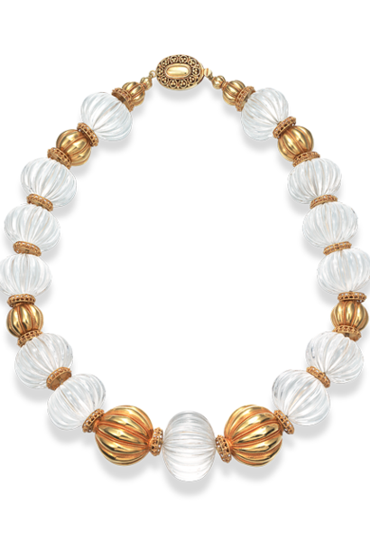 Carved Crystal & Gold Necklace -  17""