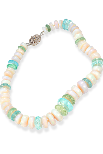 White Crystal Opal Disc Necklace