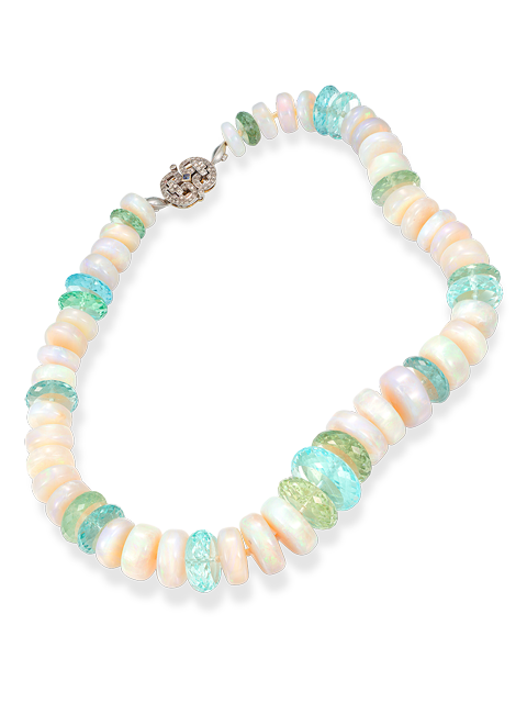 White Crystal Opal Disc Necklace-1