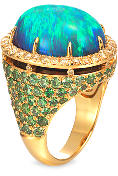 Black Opal, Demantoid Garnet & Yellow Diamond Ring