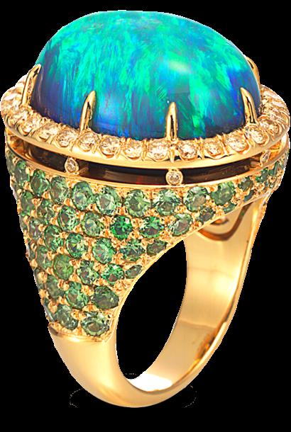 Black Opal, Demantoid Garnet & Yellow Diamond Ring