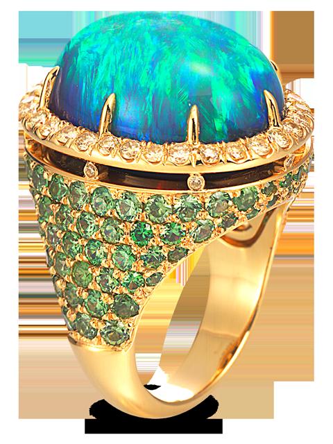 Black Opal, Demantoid Garnet & Yellow Diamond Ring-1