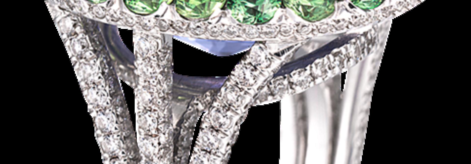 Blue Sapphire, Demantoid & Diamond Ring