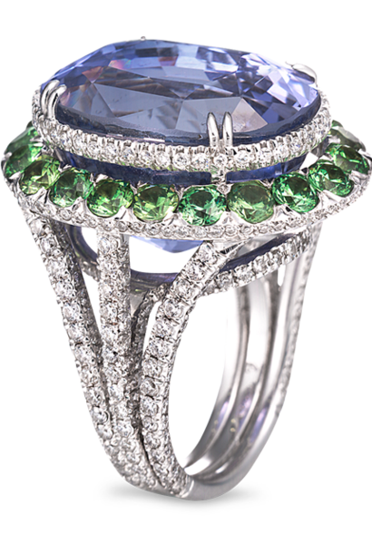 Blue Sapphire, Demantoid Garnet & Diamond Ring