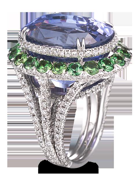 Blue Sapphire, Demantoid & Diamond Ring-1