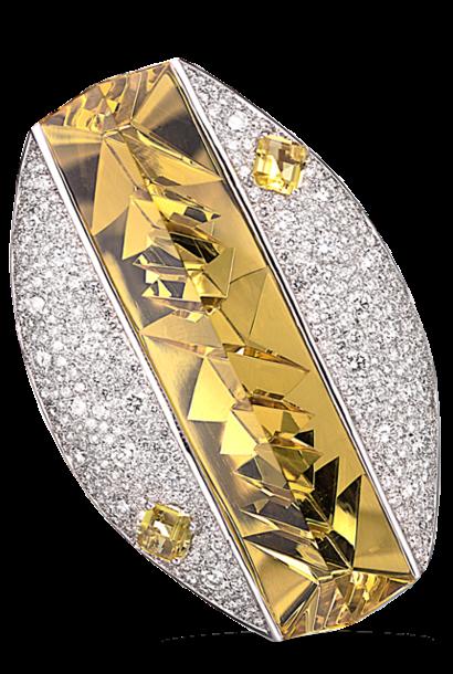 Golden Beryl & Diamond Pin (with pendant hook)