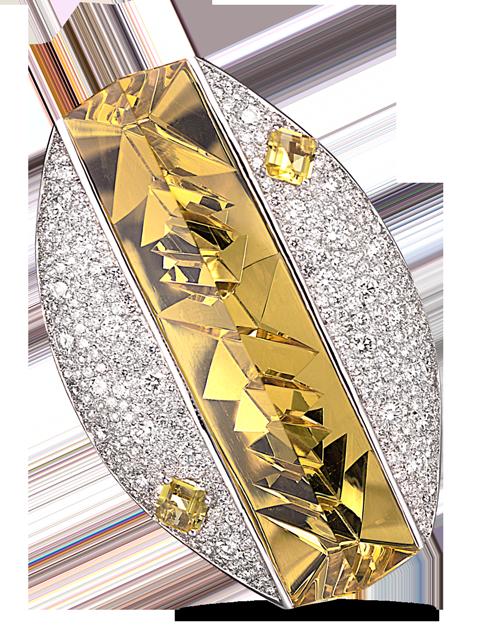 Golden Beryl & Diamond Pin (with pendant hook)-1