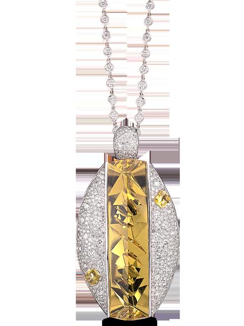 Golden Beryl & Diamond Pin (with pendant hook)-2
