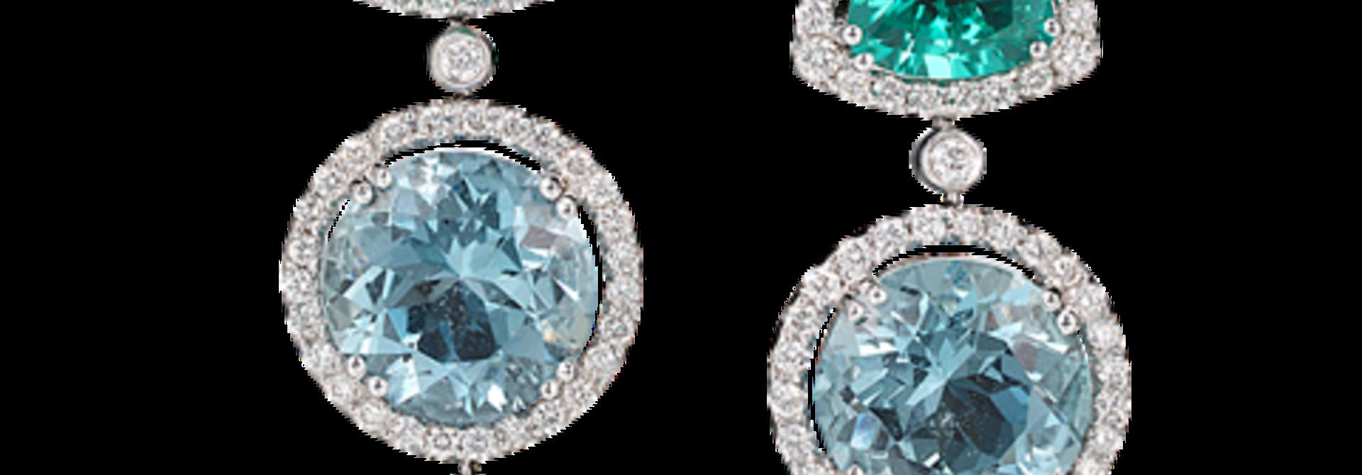 Diamond, Blue-Green Tourmaline, Aquamarine & South Sea Pearl Earrings