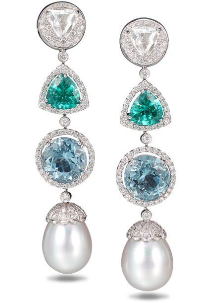 Diamond, Blue-Green Tourmaline, Aquamarine & South Sea Pearl Earrings